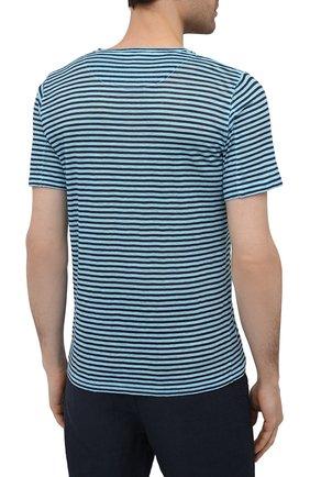 Мужская льняная футболка 120% LINO голубого цвета, арт. T0M7186/E738/S00 | Фото 4 (Рукава: Короткие; Длина (для топов): Стандартные; Принт: С принтом; Материал внешний: Лен; Стили: Кэжуэл)