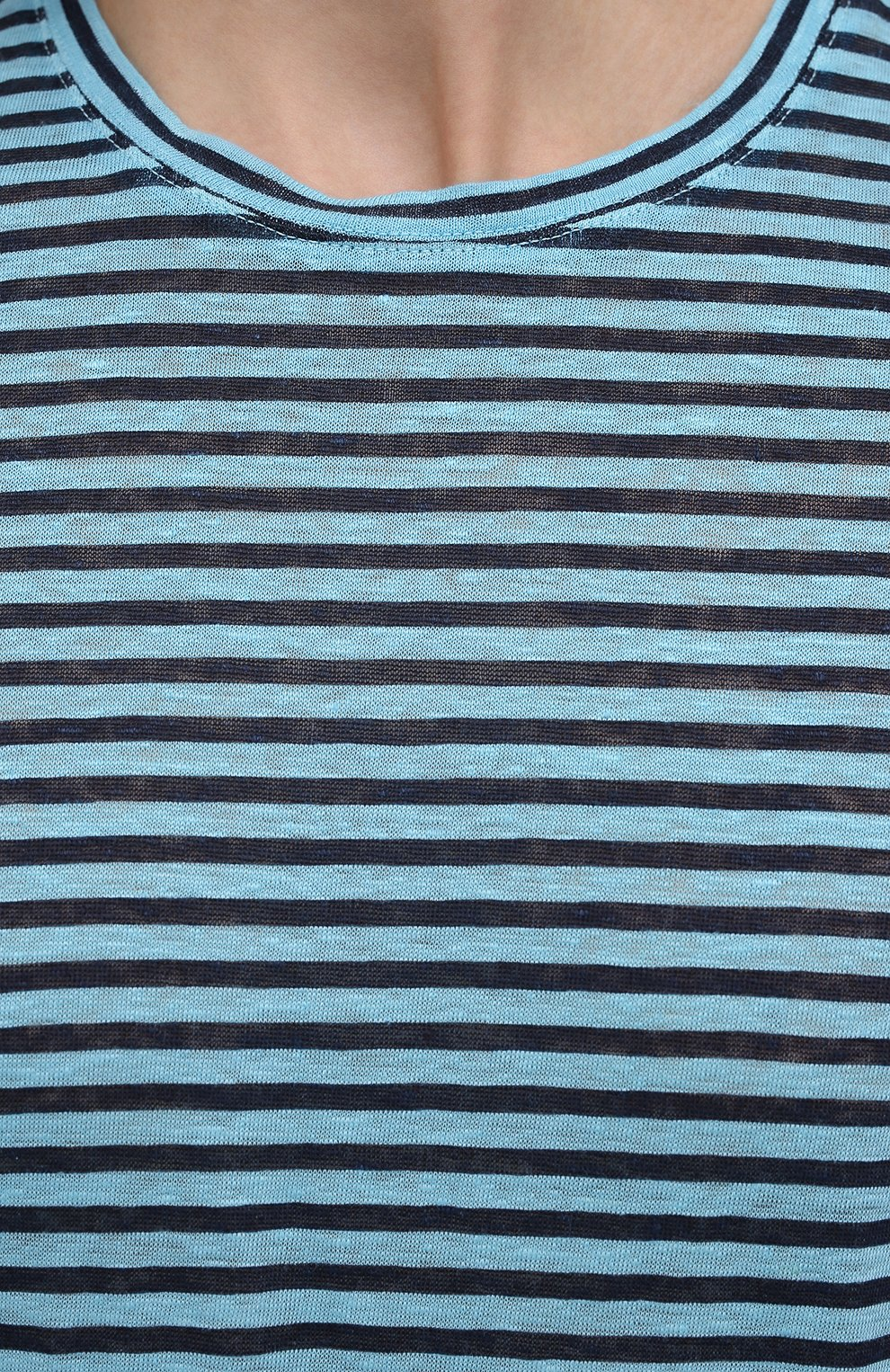 Мужская льняная футболка 120% LINO голубого цвета, арт. T0M7186/E738/S00 | Фото 5 (Рукава: Короткие; Длина (для топов): Стандартные; Принт: С принтом; Материал внешний: Лен; Стили: Кэжуэл)