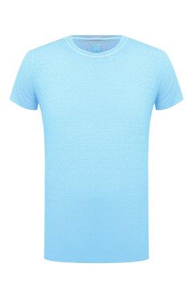 Мужская льняная футболка 120% LINO голубого цвета, арт. T0M7186/E908/S00 | Фото 1