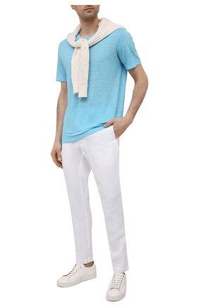 Мужская льняная футболка 120% LINO голубого цвета, арт. T0M7186/E908/S00 | Фото 2