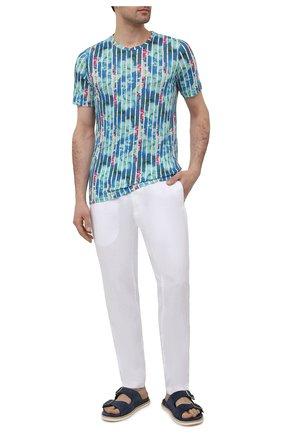 Мужская льняная футболка 120% LINO разноцветного цвета, арт. T0M7186/F933/S00   Фото 2