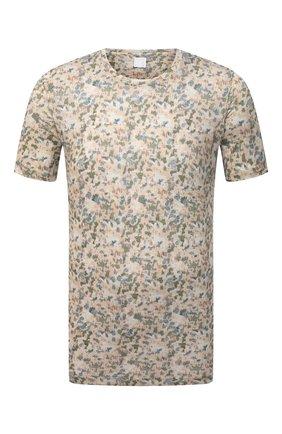 Мужская льняная футболка 120% LINO разноцветного цвета, арт. T0M7186/F937/S00 | Фото 1 (Рукава: Короткие; Длина (для топов): Стандартные; Материал внешний: Лен; Принт: С принтом; Стили: Кэжуэл)