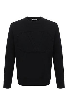 Мужской хлопковый свитшот VALENTINO черного цвета, арт. VV3MF14M73M | Фото 1 (Рукава: Длинные; Длина (для топов): Стандартные; Материал внешний: Хлопок; Мужское Кросс-КТ: свитшот-одежда; Принт: Без принта; Стили: Кэжуэл)