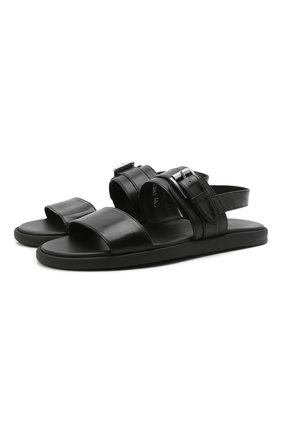 Мужские кожаные сандалии DOUCAL'S черного цвета, арт. DU2861MYK0UF002NN00   Фото 1