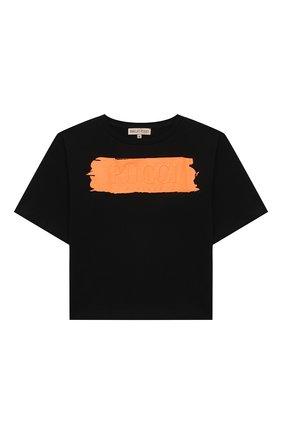 Детская хлопковая футболка EMILIO PUCCI черного цвета, арт. 9O8161 | Фото 1