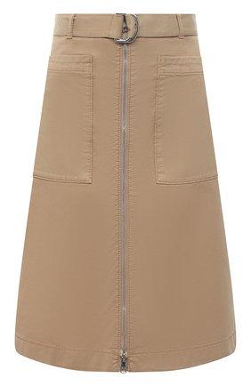 Женская хлопковая юбка BOSS бежевого цвета, арт. 50448177 | Фото 1