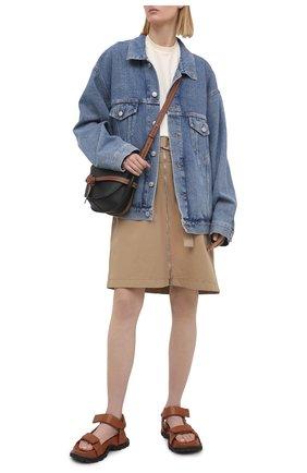 Женская хлопковая юбка BOSS бежевого цвета, арт. 50448177 | Фото 2