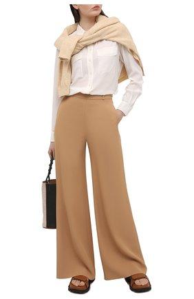 Женская шелковая рубашка BOSS бежевого цвета, арт. 50447798 | Фото 2