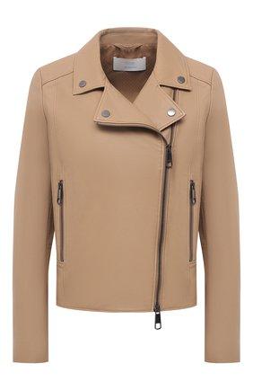 Женская кожаная куртка BOSS бежевого цвета, арт. 50442414 | Фото 1