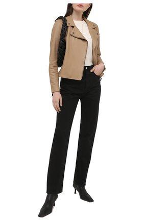 Женская кожаная куртка BOSS бежевого цвета, арт. 50442414 | Фото 2
