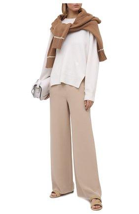 Женские шелковые брюки LORO PIANA бежевого цвета, арт. FAI9859 | Фото 2