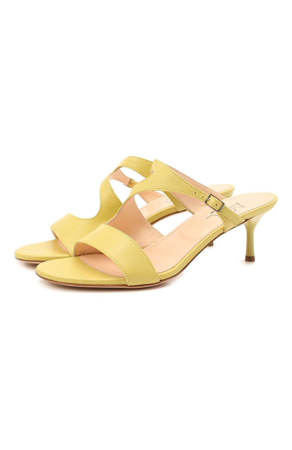 Женские кожаные мюли AGL желтого цвета, арт. D657016PCKH002E330 | Фото 1 (Каблук высота: Низкий; Материал внутренний: Натуральная кожа; Каблук тип: Шпилька; Подошва: Плоская)
