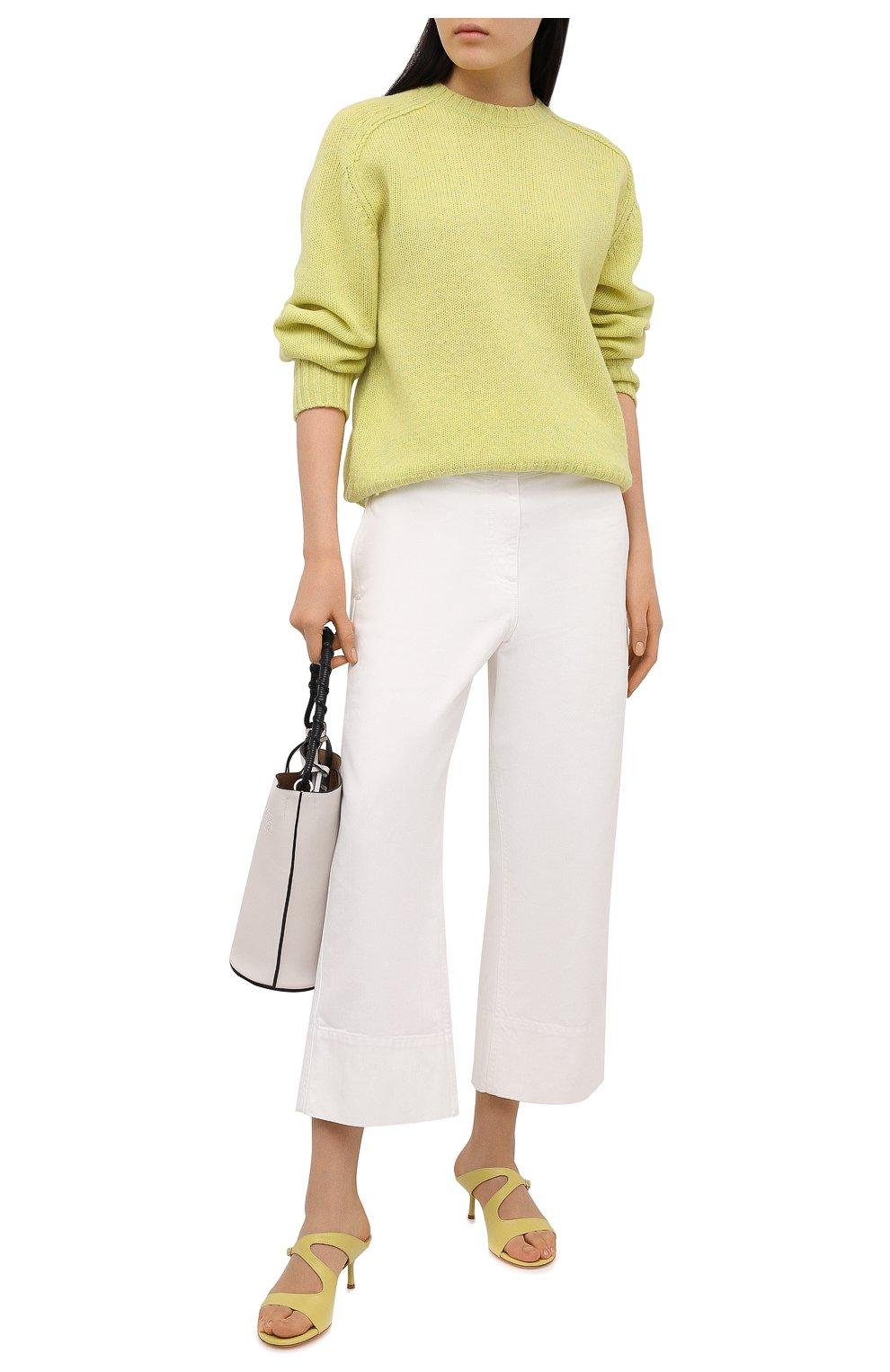 Женские кожаные мюли AGL желтого цвета, арт. D657016PCKH002E330 | Фото 2 (Каблук высота: Низкий; Материал внутренний: Натуральная кожа; Каблук тип: Шпилька; Подошва: Плоская)