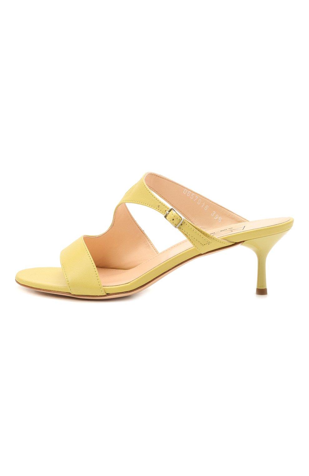 Женские кожаные мюли AGL желтого цвета, арт. D657016PCKH002E330 | Фото 3 (Каблук высота: Низкий; Материал внутренний: Натуральная кожа; Каблук тип: Шпилька; Подошва: Плоская)