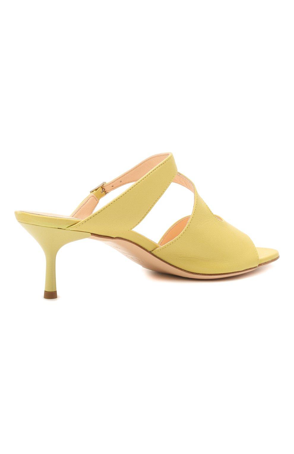 Женские кожаные мюли AGL желтого цвета, арт. D657016PCKH002E330 | Фото 4 (Каблук высота: Низкий; Материал внутренний: Натуральная кожа; Каблук тип: Шпилька; Подошва: Плоская)