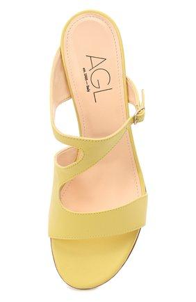 Женские кожаные мюли AGL желтого цвета, арт. D657016PCKH002E330 | Фото 5 (Каблук высота: Низкий; Материал внутренний: Натуральная кожа; Каблук тип: Шпилька; Подошва: Плоская)