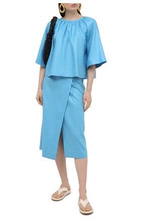 Женская льняная юбка TELA голубого цвета, арт. 11 5266 01 0167 | Фото 2