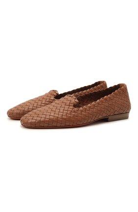 Женские кожаные лоферы SANTONI светло-коричневого цвета, арт. WUJL59384HA1SECCC50 | Фото 1