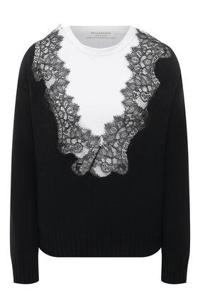 Женский хлопковый пуловер PHILOSOPHY DI LORENZO SERAFINI черно-белого цвета, арт. A0919/703   Фото 1