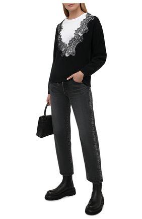 Женский хлопковый пуловер PHILOSOPHY DI LORENZO SERAFINI черно-белого цвета, арт. A0919/703   Фото 2