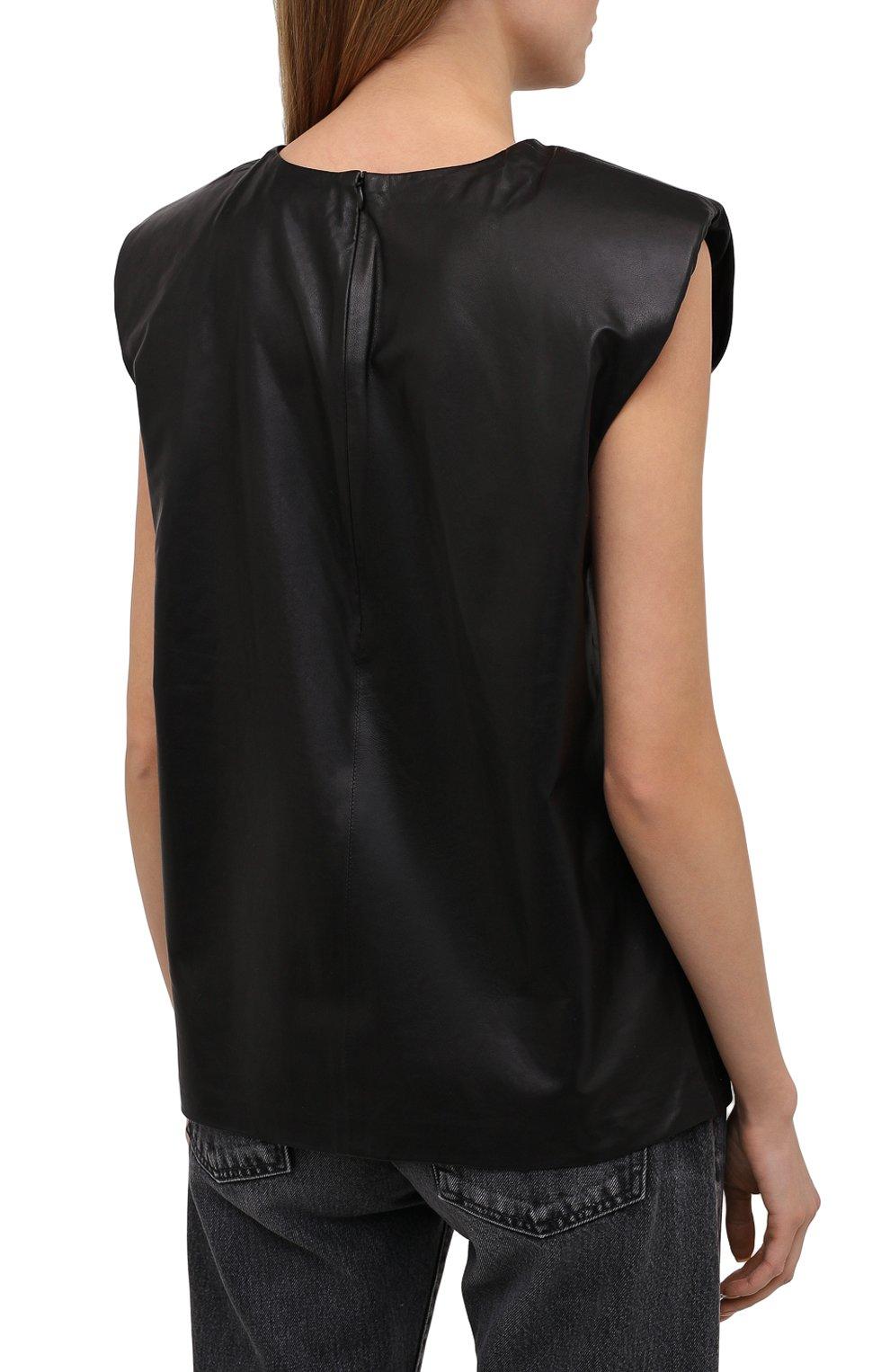 Женский кожаный топ IRO черного цвета, арт. WP16MAREN | Фото 4