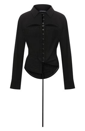 Женская рубашка из вискозы JACQUEMUS черного цвета, арт. 211SH10/102990 | Фото 1