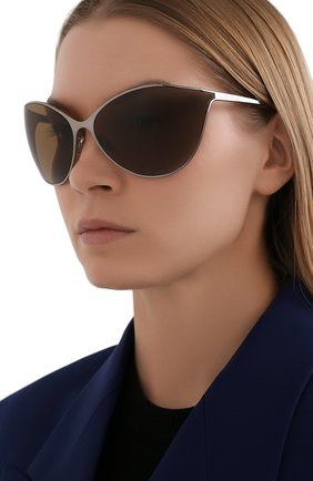 Женские солнцезащитные очки BALENCIAGA хаки цвета, арт. 648052/T0005 | Фото 2 (Материал: Металл; Тип очков: С/з; Очки форма: Over-size)