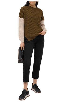 Женские текстильные кроссовки BRUNELLO CUCINELLI темно-серого цвета, арт. MZ34G1334 | Фото 2