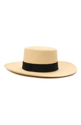 Женская шляпа BALMAIN бежевого цвета, арт. VF1A050/H010 | Фото 1 (Материал: Растительное волокно, Текстиль)