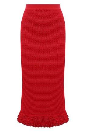 Женская хлопковая юбка BOTTEGA VENETA красного цвета, арт. 651244/V0FU0 | Фото 1