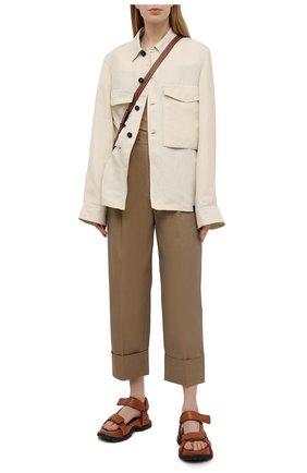 Женские хлопковые брюки ACNE STUDIOS темно-бежевого цвета, арт. AK0356 | Фото 2