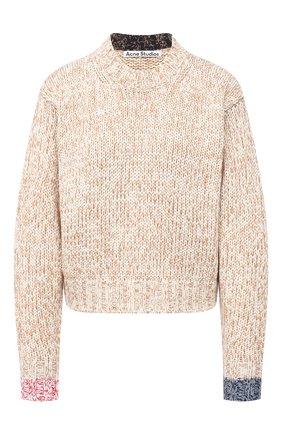 Женский хлопковый свитер ACNE STUDIOS бежевого цвета, арт. A60252   Фото 1