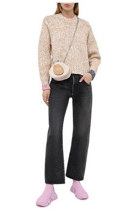 Женский хлопковый свитер ACNE STUDIOS бежевого цвета, арт. A60252   Фото 2