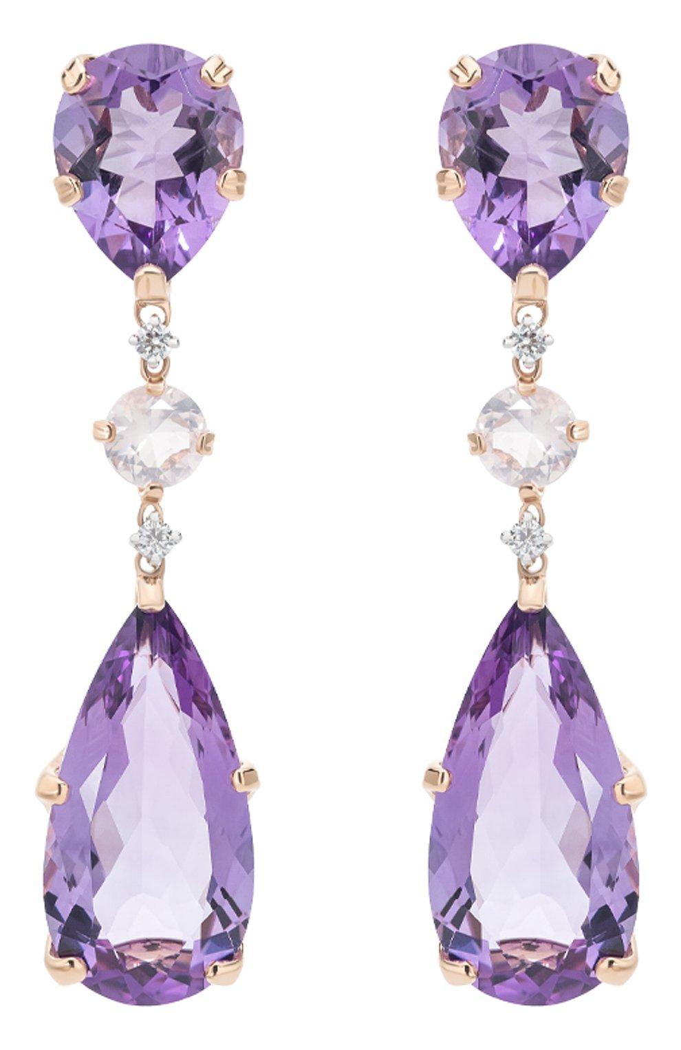 Женские серьги CASATO бесцветного цвета, арт. ORX254AME/QR   Фото 1 (Материал сплава: Белое золото, Розовое золото; Драгоценные камни: Бриллианты)