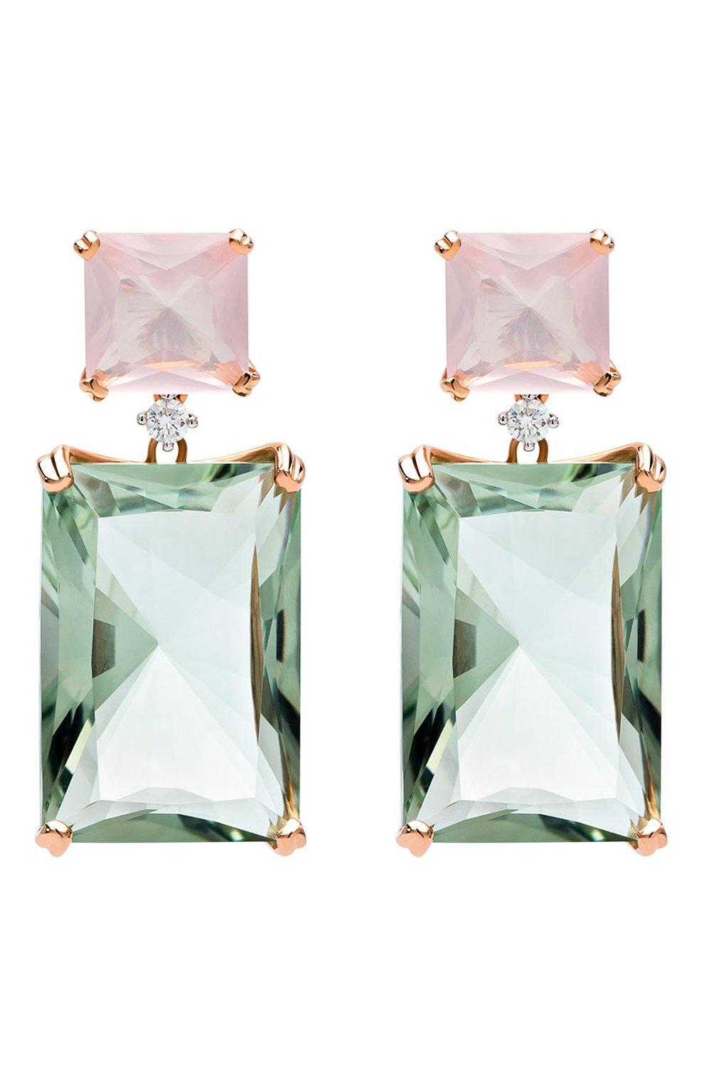 Женские серьги CASATO бесцветного цвета, арт. ORX341QR/PRA   Фото 1 (Материал сплава: Белое золото, Розовое золото; Драгоценные камни: Без драгоценных камней)