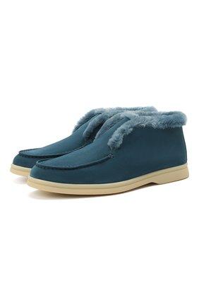 Женские замшевые ботинки LORO PIANA синего цвета, арт. FAG3602 | Фото 1 (Женское Кросс-КТ: Зимние ботинки; Подошва: Платформа; Каблук высота: Низкий; Материал внешний: Замша)