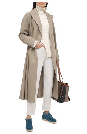 Женские замшевые ботинки LORO PIANA синего цвета, арт. FAG3602 | Фото 2 (Женское Кросс-КТ: Зимние ботинки; Подошва: Платформа; Каблук высота: Низкий; Материал внешний: Замша)