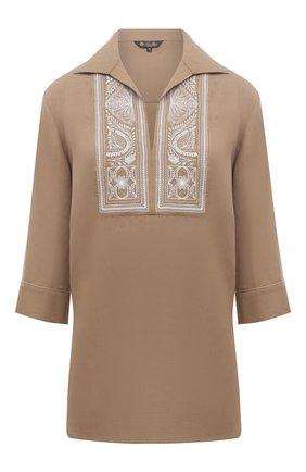 Женская льняная блузка LORO PIANA светло-коричневого цвета, арт. FAL5867 | Фото 1