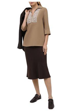 Женская льняная блузка LORO PIANA светло-коричневого цвета, арт. FAL5867 | Фото 2