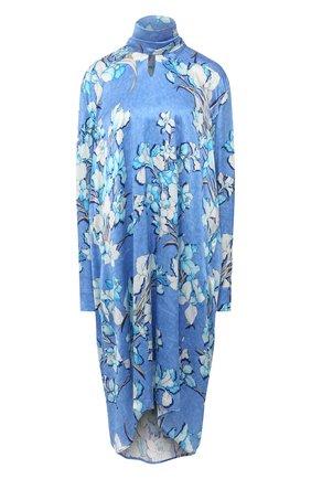 Женское шелковое платье BALENCIAGA голубого цвета, арт. 646910/TJLU9 | Фото 1