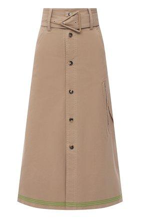 Женская хлопковая юбка BOTTEGA VENETA бежевого цвета, арт. 649367/V0BV0 | Фото 1