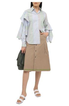 Женская хлопковая юбка BOTTEGA VENETA бежевого цвета, арт. 649367/V0BV0 | Фото 2