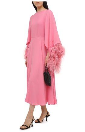 Женское платье с отделкой перьями VALENTINO розового цвета, арт. VB3VAUQ11MH | Фото 2