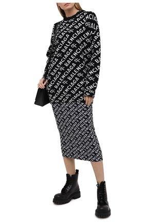 Женский шерстяной свитер BALENCIAGA черно-белого цвета, арт. 648130/T1599 | Фото 2