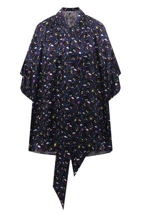 Женская шелковая блузка BALENCIAGA синего цвета, арт. 647679/TJLA5   Фото 1