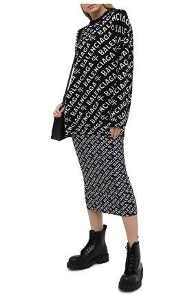 Женское хлопковое платье BALENCIAGA черно-белого цвета, арт. 646220/TJVE8 | Фото 2