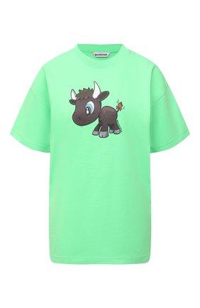 Женская хлопковая футболка BALENCIAGA зеленого цвета, арт. 612965/TJVM9 | Фото 1