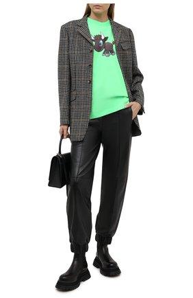 Женская хлопковая футболка BALENCIAGA зеленого цвета, арт. 612965/TJVM9 | Фото 2
