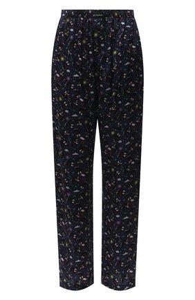 Женские шелковые брюки BALENCIAGA синего цвета, арт. 595222/TJLA5 | Фото 1