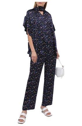 Женские шелковые брюки BALENCIAGA синего цвета, арт. 595222/TJLA5 | Фото 2